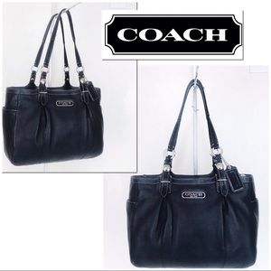 Coach Black Leather Pleated Gallery Carryall Tote